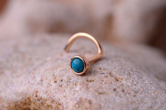 Nose Ring Turquoise Stone 2mm In 3mm 14k From