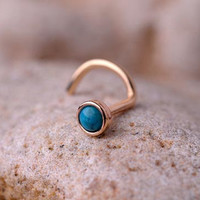 NOSE RING turquoise stone 2mm in 3mm 14K rose gold filled setting. Also Cartilage or Ear Stud handcrafted