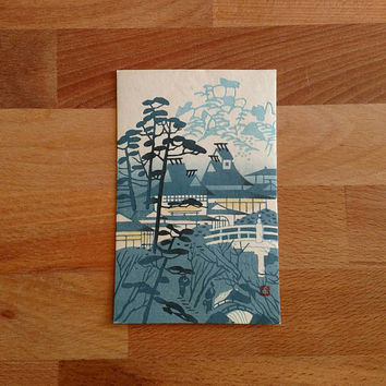 Japanese Wood Block Print Postcard / Mikumo Wood Block Print Company / Blue / Nakashinmichi  Nishi / Kyoto Japan / 1950s / Japanese Temple /