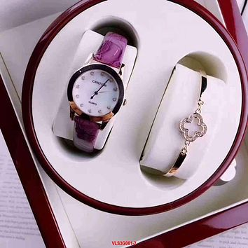 Cartier Women Fashion Quartz Movement Watch Wristwatch Bracelet Set Two-Piece