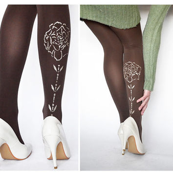 HAND PAINTED Tights With Shiny Rose, Flower Pantyhose,Brown Leggings,Fashion Pantyhose
