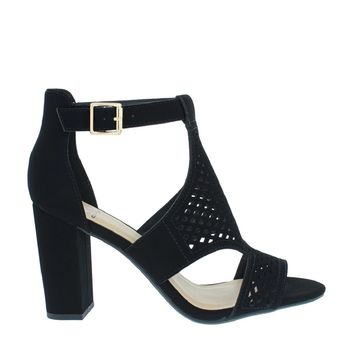 Laser Cut Out Chunky Heel Sandal