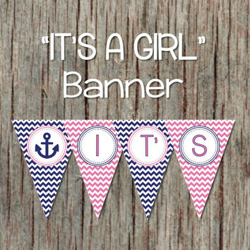 Gum Pink and Navy Blue Chevron Nautical Anchor It's A Girl Baby Shower Banner Printable INSTANT DOWNLOAD 083
