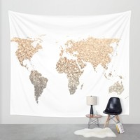 GOLD WORLD MAP Wall Tapestry by Monika Strigel | Society6