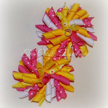Pink & Yellow Bow ~ Pink Korker Bow ~ Yellow Korker Bow ~ Daisy Hair Bow ~ Corkscrew Bow ~ Korker Pigtal Bows ~ Hot Pink Polka Dot Bow