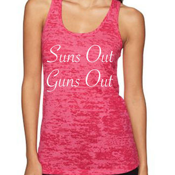 Suns Out Guns Out women's workout tank tops from Spin Off Apparel