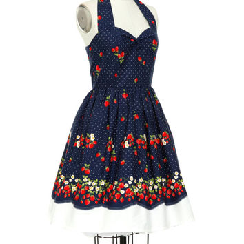 Strawberry Dress Summer Dress Festive Holiday Dress Border Skirt Pin Up Dress Rockabilly Dress 50s Party Dress Sun Dress Bridesmaid Dress