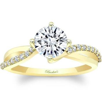 Barkev's Yellow Gold Bypass Twist Prong Set Diamond Engagement Ring
