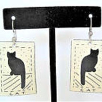 Kitty Cat Earrings,  Dangle Signed, Porcelain Background, Ear Wire Pierced 1989
