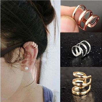 Punk Rock Ear Clip Cuff Wrap Earrings 1PC 2017 No piercing-Clip Women Men Party Jewelry