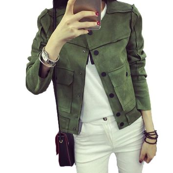 2017 Spring New Retro Military Patchwork Solid Color Green Jacket Fashion Casual Suede Outerwear Coats Women Jaqueta Female