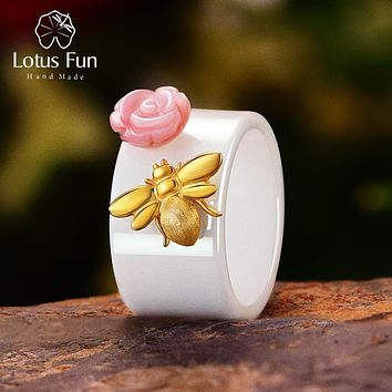Lotus Fun Real 925 Sterling Silver Natural Handmade Fine Jewelry Ceramic Ring Cute Bee Kiss from a Rose Rings for Women Bijoux