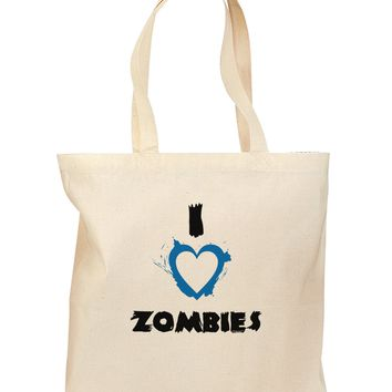I Heart Zombies - Bloody Heart Blue Grocery Tote Bag
