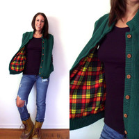 Green Flannel LIned Button Up Sweater Vest