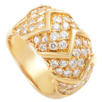 Van Cleef & Arpels Partial Diamond Pave Gold Band Ring