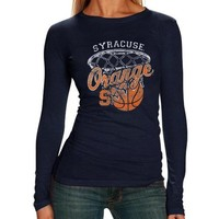 Syracuse Orange Ladies Long Sleeve Hoop T-Shirt - Navy Blue