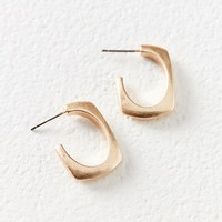 River Curved Rectangle Hoop Earring | Urban Outfitters