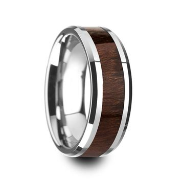 Men's Carpathian Wood Inlaid Tungsten Wedding Band With Polished Beveled Edges 8mm