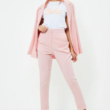 Missguided - Pink Pinstripe Cigarette Pants