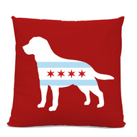 Chicago Flag Labrador Bulldog Pillow - Chicago Home Decor - Labrador pillow - dog breed silhouette pillow - dog home decor