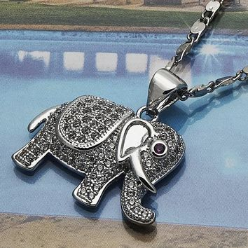 Rhodium Layered Women Elephant Fancy Necklace, with Ruby Micro Pave, by Folks Jewelry