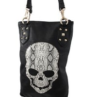 Black Vinyl Shoulder Bag with Snakeskin Skull