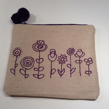 Purple flowers hand embroidered on raw linen, One of a kind handmade pouch, accessories case