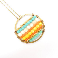 Beaded Medallion, Striped Jewelry, Beaded Pendant, Yellow and Turquoise, Statement Necklace, Boho Jewelry, Beadwork, Neon Jewelry