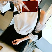 Sexy Off Shoulder Female T Shirt For Women Tops Pleated Flare Sleeve Chiffon Summer T Shirts Clothes Fashion