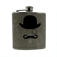 Gentleman Mustache Man Liquor Hip Flask 6oz 8oz by thehairofthedog