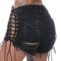 Distressed Lace Up Shorts