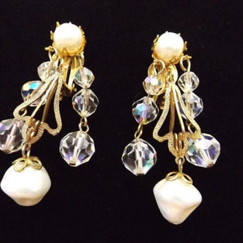 Vintage Signed Schreiner Dangle Earrings Baroque Pearl Crystal