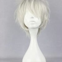 HealthTop 12'' Short Future City Shion Silver White Anime Cosplay Costume Wig Heat Resistance Performance Hair + Free Cap