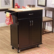 Black Mobile Kitchen Cart Island with Natural Wood Top