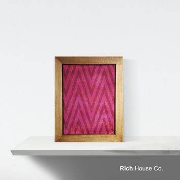 Distressed Pink Chevron Framed Wall Art