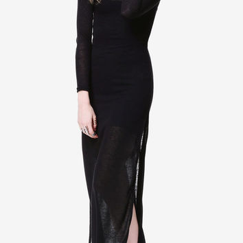 Black Knit Sheer Maxi Dress