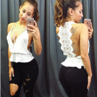 Hot lace backless white lace top blouse