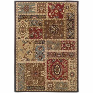 Huntington Beige Brown Oriental Patchwork Traditional Rug