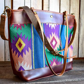 Trama Woven with Dark Rum Leather Market Tote