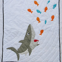 READY TO SHIP - Shark bedding - Shark quilt - Shark blanket - Nautical quilt - Baby boy quilt - Crib bedding item - Orange