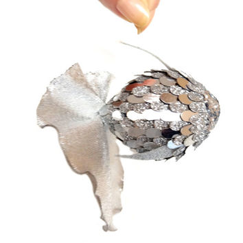 silver fish figurine pendant for home interior. 100% handmade. Sparkles silver flakes. The tail of silver  brocade.