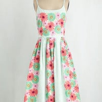 50s Long Spaghetti Straps Fit & Flare High Socie-tea Dress in Flower Box by Bea & Dot from ModCloth