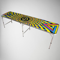 Psychedelic Black Light 8ft Beer Pong Table