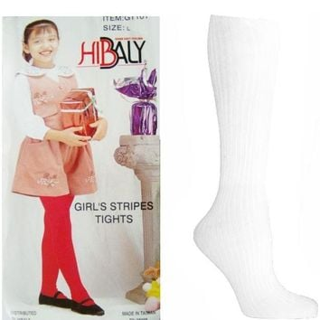 Hibaly Girl's Thick White Tights - Small-XL - CASE OF 34