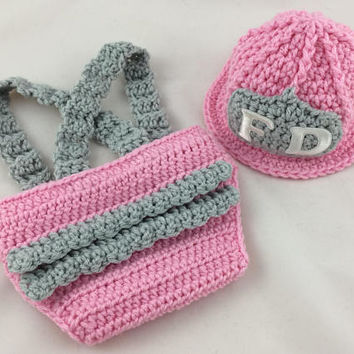 Baby Girl Firefighter Fireman Outfit - 2pc Crochet Diaper Cover Set w/Suspenders - Newborn - Photography Prop - Baby Shower Gift - Pink
