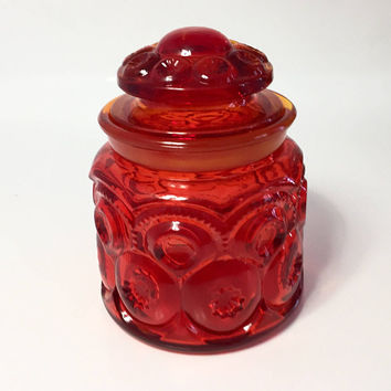 Amberina Moon and Stars Glass Canister, LE Smith Red Glass Storage Jar with Lid, Glass Cookie Jar, Coffee Canister, Tea Canister