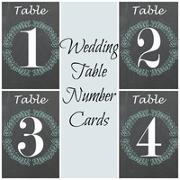 Wedding Table Number Cards Printable - Wedding Colorful Chalkboard Rustic Style - 1-20 Number Printable Cards- Instant Digital Printable