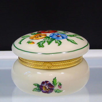Partylite Pansy Porcelain Hinged Tea Lite Trinket Box Keepsake Tealight Holder Pansies