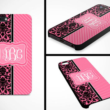 iPhone 5 Cell Phone Case Pink Black Damask Stripe Vine Monogram Initials Apple Personalized Protective Black Plastic Hard Cover VM-1053
