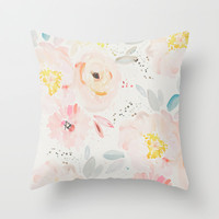 watercolor field Throw Pillow by Sweet Reverie